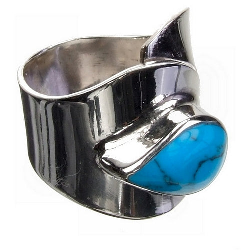 Turquoise Tear Silver Ring
