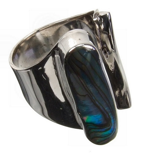 Abalone Art Silver Ring
