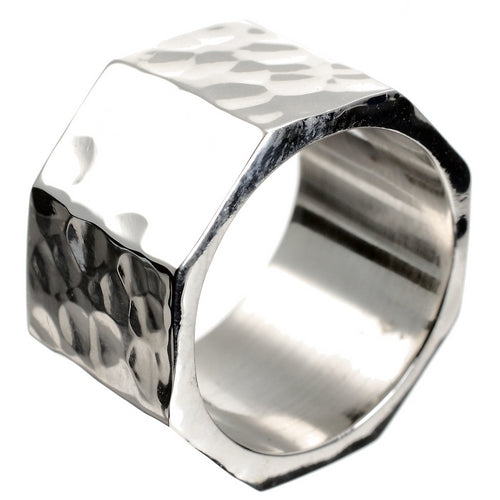 Hex Nut Silver Ring