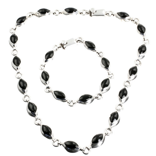 Shades of Black Silver Necklace Mexican Set