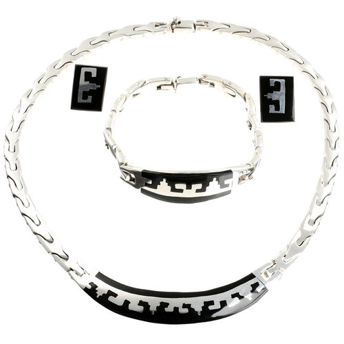 Black Aztec Mexican Silver Jewellery Set