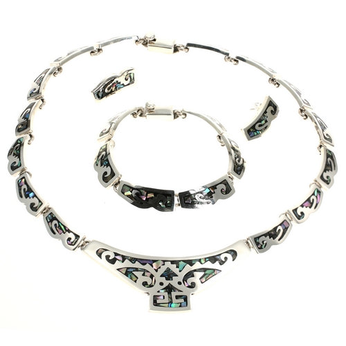 Abalone Paua Shell Silver Necklace Bracelet Earrings Set