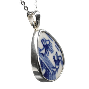 Fishing in Blue Willow Porcelain Sterling Silver Pendant