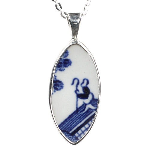 Thoughtful Fisherman Porcelain Silver Pendant