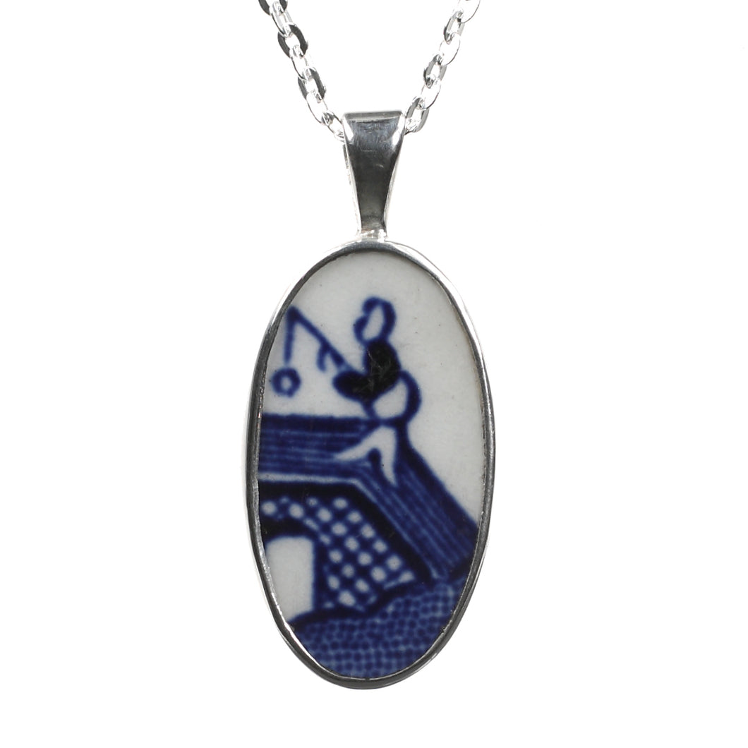 Bridge Fishing Blue Willow porcelain Silver Pendant