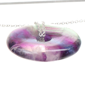 Fluorite Healing Crystal Donut with Silver Chain