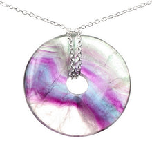 Load image into Gallery viewer, Fluorite Healing Crystal Donut with Silver Chain