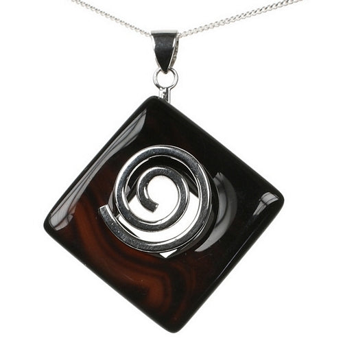 Black Agate Healing Crystal Pendant Stone with 18 inch Sterling Silver Chain