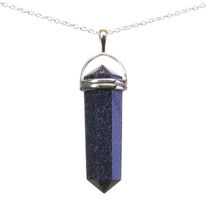 Blue Goldstone Wand Pendant with Silver Chain