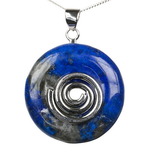 Lapis Lazuli Crystal Donut with Silver Plated Hoop and Sterling Silver Chain