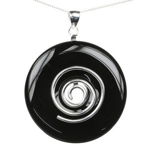 Large Black Agate Donut Healing Crystal Pendant with Sterling Silver plated Hoop and Sterling Silver Chain