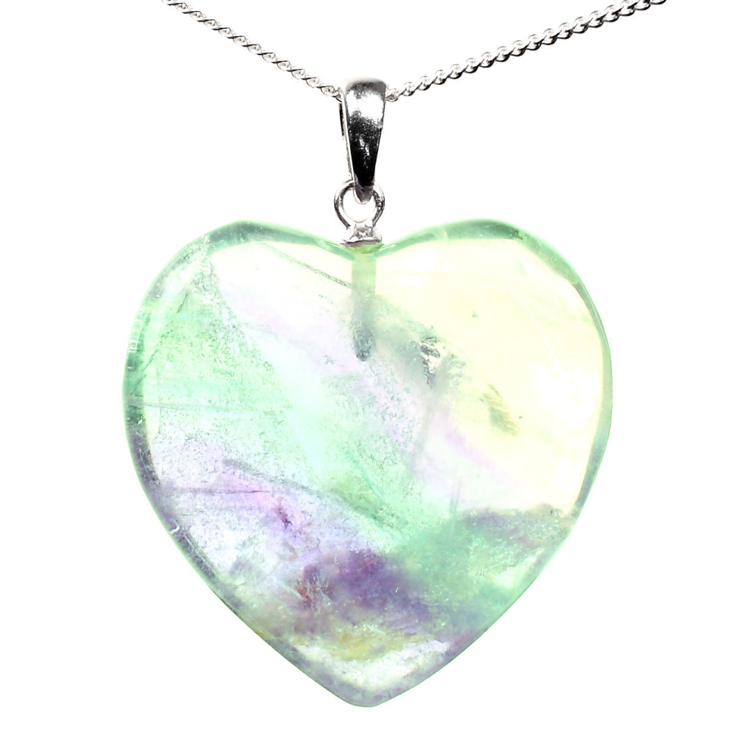 Fluorite Heart Crystal Healing Pendant with Sterling Silver Chain