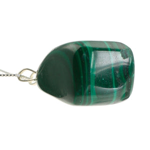 Malachite Precious Stone Pendant with Sterling Silver Chain
