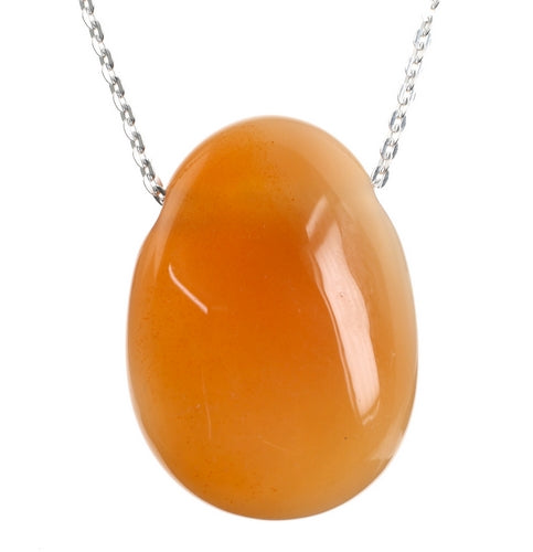 Orange Agate Teardrop Crystal Pendant and 18 inch Sterling Silver Chain