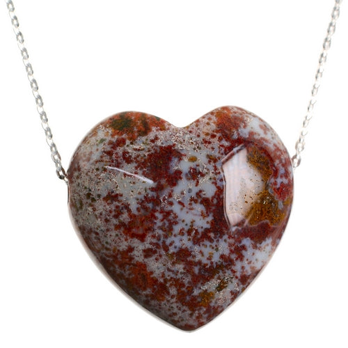 Ocean Jasper Crystal Heart Pendant and Sterling Silver Chain