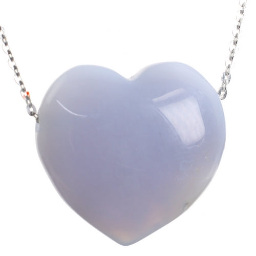 Small Blue Lace Crystal Love Heart Pendant and 18 inch Sterling Silver Chain