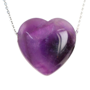 Amethyst Crystal Heart Pendant and Sterling Silver Chain