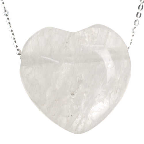 Clear Quartz Rock Crystal Stone Love Heart Pendant and 18 inch Sterling Silver Chain
