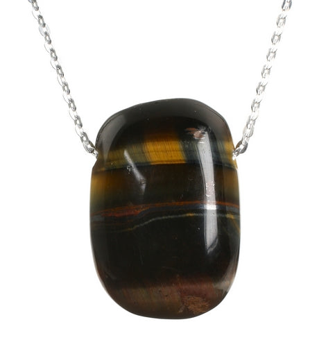Tigers Eye Oval Pendant and 18 inch Sterling Silver Chain