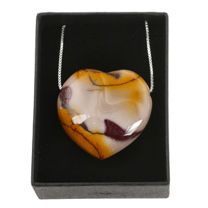Mookaite Heart Crystal Stone and Sterling Silver Chain