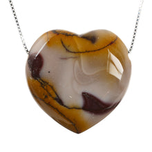 Load image into Gallery viewer, Mookaite Heart Crystal Stone and Sterling Silver Chain