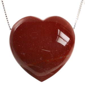 Red Mookaite Heart Crystal and Sterling Silver Chain