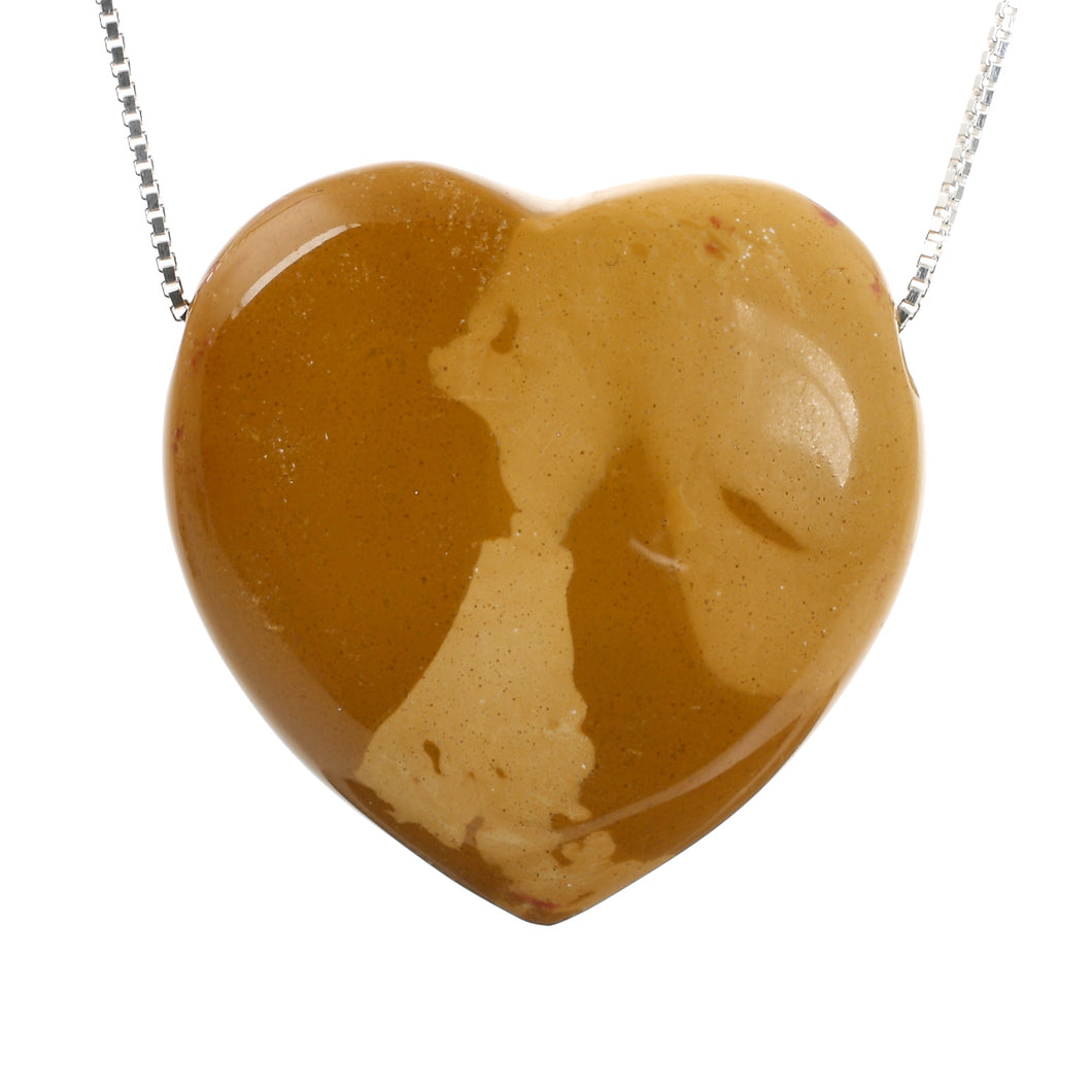 Brown Mookaite Heart Stone and Sterling Silver Chain