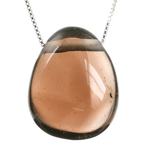 Smoky Quartz Crystal Stone Necklace and Sterling Silver Chain
