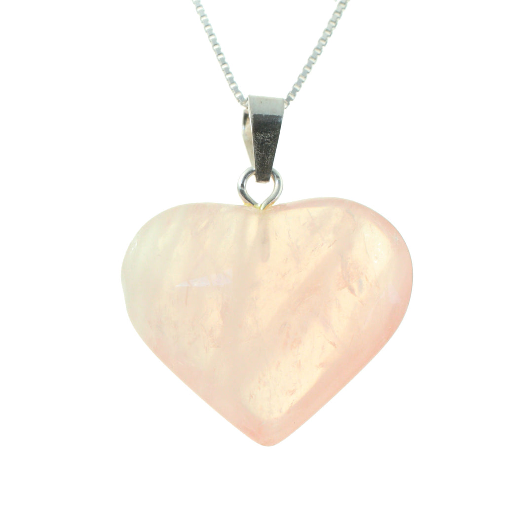 Rose Quartz Crystal Heart Pendant and Sterling Silver Chain