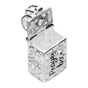 Opening Prayer Box Charm Sterling Silver - Clip or Chain available