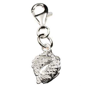 Pisces Zodiac Fishes Sterling Silver Charm - Clip or Chain available