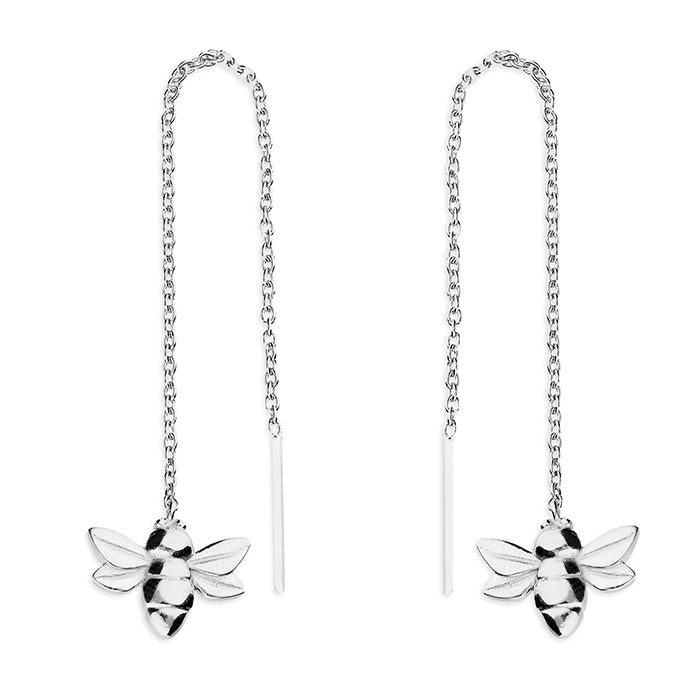 Small Bee Silver Earrings