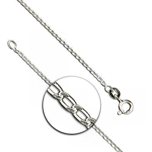 16 inch Light Diamond Cut Open Curb Silver Chain