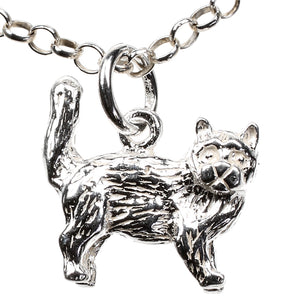 Cat Sterling Silver Charm - Clip or Chain available