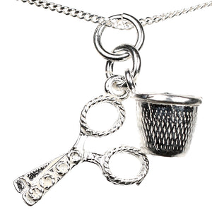 Sterling Silver Sewing Set Scissors Thimble Charm