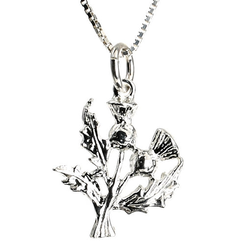 Silver Thistle Scottish Silver Necklace