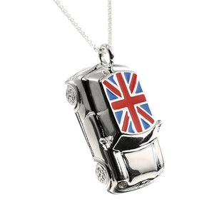 Large British Union Jack Mini Car Charm Sterling Silver - Clip or Chain available