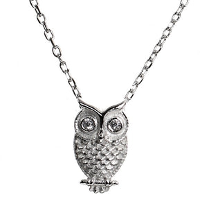 Sterling Silver Twit Twhoo Owl Necklace with CZ Eyes