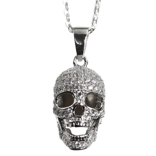 CZ Encrusted Skull Sterling Silver