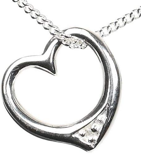 Diamond Love Heart Sterling Silver Pendant with 18 inch Chain