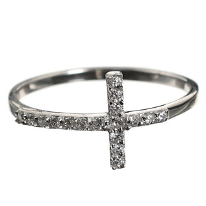 Religious Cross CZ Sterling Silver Ring