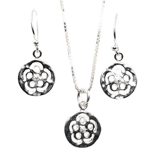 Floret Flowers Silver Necklace and Earrings Set