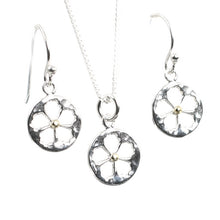 Load image into Gallery viewer, Blossom Flower Silver Necklace and Earrings Set