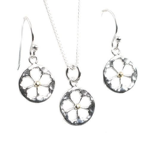 Blossom Flower Silver Necklace and Earrings Set