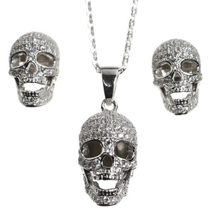 CZ Encrusted Skull and Earrings Set in Sterling Silver