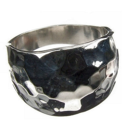 Hammered Domed 925 Silver Ring