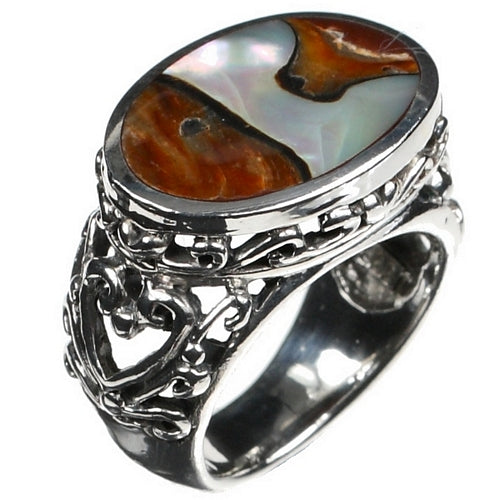 Tiger Delight Shell 925 Silver Ring