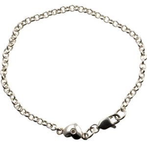 D for Diamond Heart Silver Bracelet