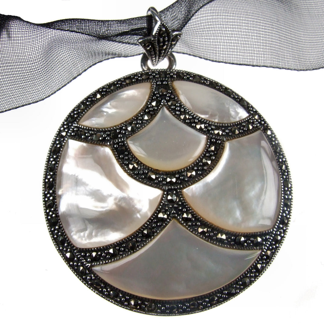 Universe Silver 925 Marcasite Mother of Pearl Pendant