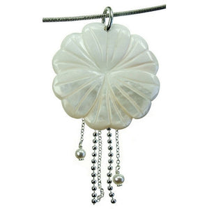 Flower White Mother of Pearl Crystal Stone Pendant and 18 inch Sterling Silver Chain Necklace